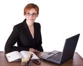 Businesswoman makes note — Stockfoto