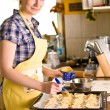 Young woman make Croissants — Stock Photo