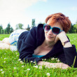 Girl on grass — Stock Photo #3488952