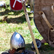 Helmet, shield and sword — Stock Photo