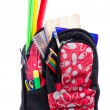 Stock Photo: Black and red packback with school supplies