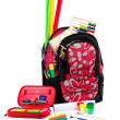 Black and red packback with school supplies — Stock Photo #3744379