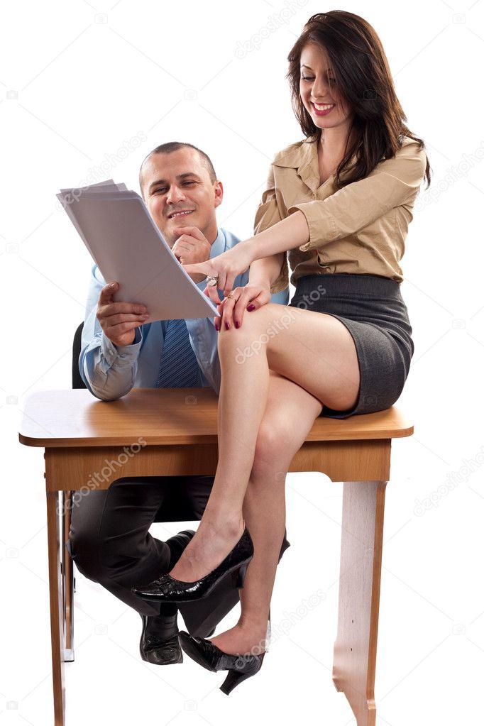 with flirting secretary office