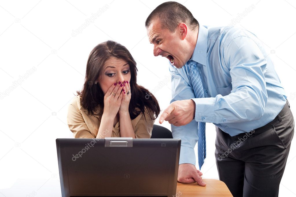 Boss blaming an employee for bad results, studio shot  Stock Photo #2874827