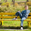 Stock Photo: Cute schoolboy in park
