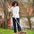 Redhead woman using a rake for cleaning — Stock Photo #2895802