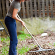 Redhead woman using a rake for cleaning — Stock Photo
