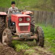 Old farmer plowing — Stock Photo #2895868