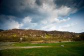 Meadow and cloudy sky — Foto de Stock