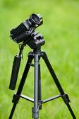 Video camera on tripod — Stock Photo