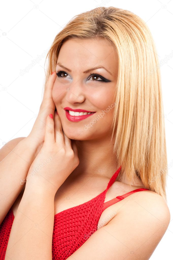 Closeup portrait of a happy young lady isolated on white — Stock Photo #3067799