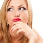Pensive blond woman — Stock Photo