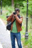 Photographer outdoors — Stock Photo