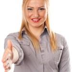 apretón de manos que ofrece señora de negocios — Foto de Stock