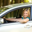 Beautiful girl enjoying her new car — Stok fotoğraf #3222164