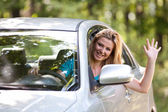 Caucasian lady with new car — Stock Photo