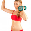 Woman doing fitness with weights — Stock Photo