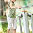 Boy doing fitness outdoor and having fun — Foto Stock