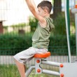 Boy doing fitness outdoor and having fun — Foto de Stock