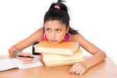 Student girl at her desk — Stock Photo