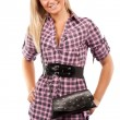 Attractive blonde woman with purse — Stock Photo