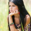 Stock Photo: Beautiful brunette young lady outdoor