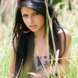 Beautiful brunette young lady outdoor - Stok fotoraf