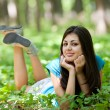 Attractive lady in the forest — Stock Photo