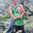 Father and son in mountains — Stock Photo #3519002