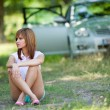 Beautiful woman sitting — Stock Photo