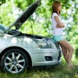 Stock Photo: Woman with broken car