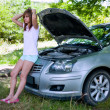 Woman with broken car — Stock fotografie