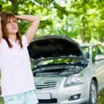 Woman with broken car — Stock Photo #3548796