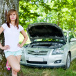 Woman with broken car — Foto Stock