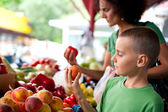 Cute boy at the farmer's market — Stockfoto