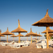 Thatched umbrellas on the beach - Stock Photo