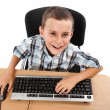 Stock Photo: Kid using keyboard and mouse