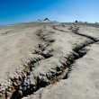 Cracked ground from muddy volcanoes in Romania - 图库照片