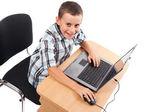 Modern kid at the laptop — Stock Photo
