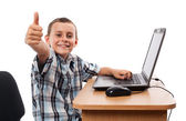 Modern kid at the laptop — Stock Photo