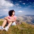 Pretty woman in an alpine landscape — Stock Photo #3785010