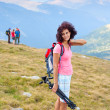 Stock Photo: Attractive young lady outdoor in mountains