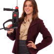 Concept image of a businesswoman with drilling machine — Stock Photo