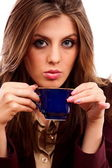 Glamour businesswoman with coffee cup — Stock Photo