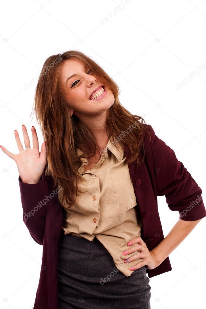 Young goofy businesswoman isolated on white background — Foto de Stock   #3907874