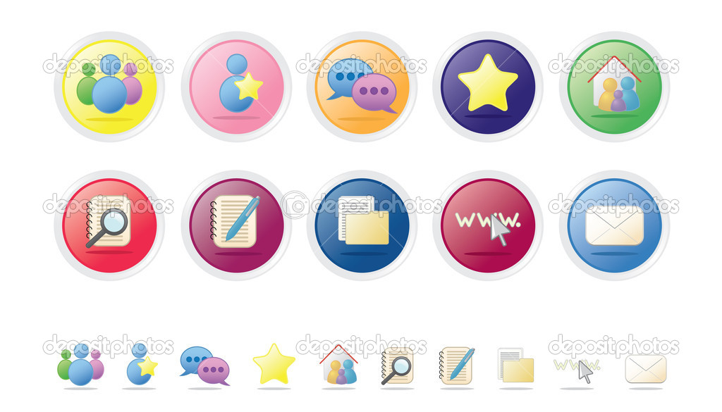 Set of 10 colorful vector web icons / buttons. Social & networking set. Bubble series. — Stock Vector #3037769