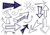 Doodle pijlen — Stockvector