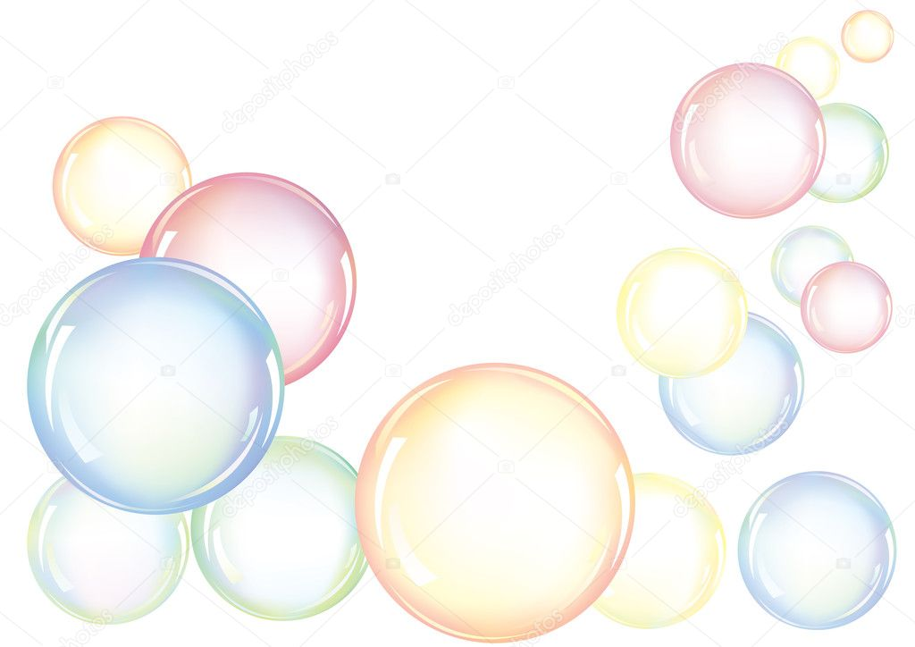 An arrangement of colorful soap bubbles floating in the air  Stock Vector #3425763