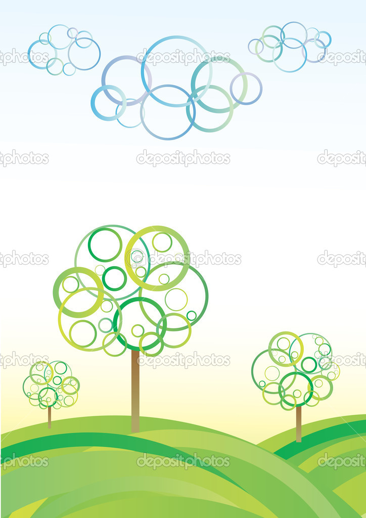 Cute abstract meadow background with circle trees and clouds — Stock Vector #3425774