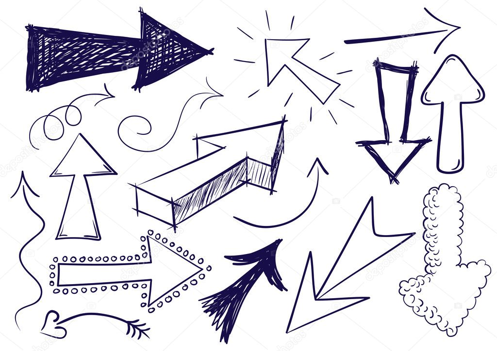 Collection of hand drawn doodle style vector arrows in various directions and styles. — Stock Vector #3425777